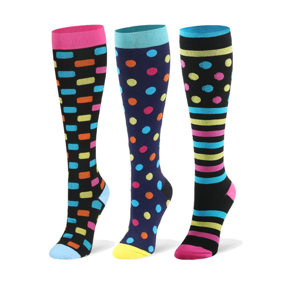 Compression Socks for Women & Men - 20-30mmHg 3 Pairs Compression Stockings for Nurse, Pregnancy, Travel