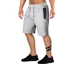 Uni Clau Men's Casual Jogger Shorts Elastic Waist Workout Shorts Running Shorts with Zipper Pockets