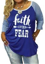 Women's Plus Size Faith Over Fear Funny Christian Shirt 3/4 Sleeve Striped Patchwork Tops Tees