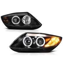 [For 2003-2008 BMW E85 E86 Z4 Halogen Model] LED Halo Ring Black Projector Headlight Headlamp Assembly, Driver & Passenger Side