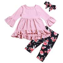 Toddler Little Girl Outfits Ruffle Flare Tunic Dress and Floral Leggings Pants Clothes Set