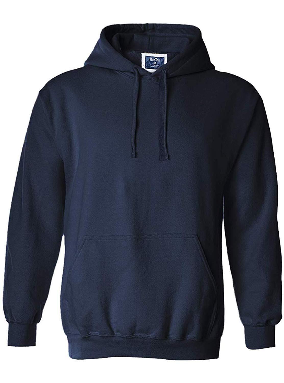 ZITY Men's Fleece Lined Hoodie Sweatshirt Casual Solid with Split Kangaroo Pocket
