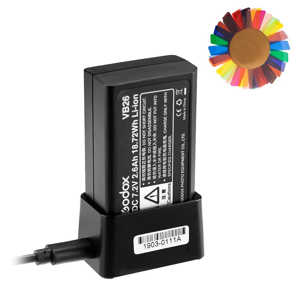 Godox V1 Battery, Godox VB26 7.2V Li-ion Speedlight Flash Battery with Godox VC26 Charger for Godox V1 Flash Series, Godox V1-C V1-S V1-N V1-F V1-O Camera Flash Speedlite, W/Pergear Color Filters