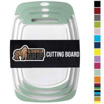 GORILLA GRIP Original Oversized Cutting Board, 3 Piece, BPA Free, Dishwasher Safe, Juice Grooves, Larger Thicker Boards, Easy Grip Handle, Non Porous, Extra Large, Kitchen, Set of 3, Mint