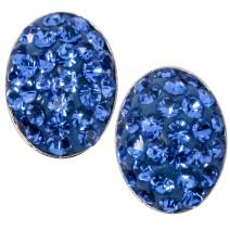 YACQ 925 Sterling Silver Crystal Easter Egg Oval Shaped Stud Earrings Costume Jewelry For Women Teen Girls