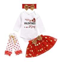 Baby Girls Valentine's Day Outfits My 1st Valentine's Day Romper+ Dot Tutu Skirt+ Love Leg Warmer+ Bunny Headband Outfit Set