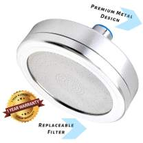 Filtered Shower Head, ALL METAL, Water Filter Reduces Chlorine & Dissolved Solids: Enhanced Pressure: Oversized Bathroom Rain Shower: Modern Chrome Look