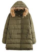 Minibee Women's Winter Parka Coat with Fur Hoodie Jacket Outwear