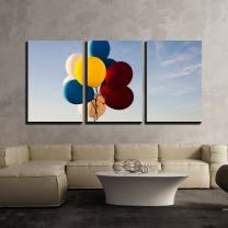 """wall26 - 3 Piece Canvas Wall Art - Colorful Balloons Flying in The Air - Modern Home Decor Stretched and Framed Ready to Hang - 16""""x24""""x3 Panels"""