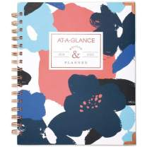 """AT-A-GLANCE 2019-2020 Academic Year Weekly & Monthly Planner, Medium, 7"""" x 8-3/4"""", Hardcover, Badge, Floral (6203F-805A)"""