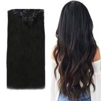 Easyouth Remy Clip in Hair Extensions Human Hair Natural Black Clip on Extensions 7 Pieces 90Gram with Clips Silky Straight Seamless Weft Real Hair Extensions Clip in for Women 14 Inch
