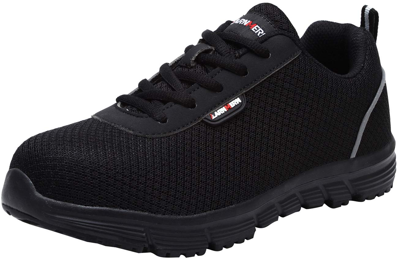 LARNMERN Steel Toe Shoes Women, Safety Work Shoes Lightweight and Breathable Industrial Construction Shoes