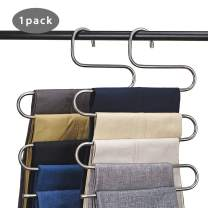CEISPOB Multi-Purpose Pants Hangers, S-Type 5 Layers Stainless Steel Clothes Hangers Storage Pant Rack Closet Space Saver for Trousers Jeans Towels Scarf Tie (1-Piece)