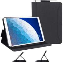 """Skycase iPad Air 3 Case 10.5"""" 2019 (3rd Generation), Canvas Multi-Angle Viewing Stand Folio Case for iPad Air 3 10.5 2019 / iPad Pro 10.5 2017, with Pencil Holder and Card Holders, Black"""