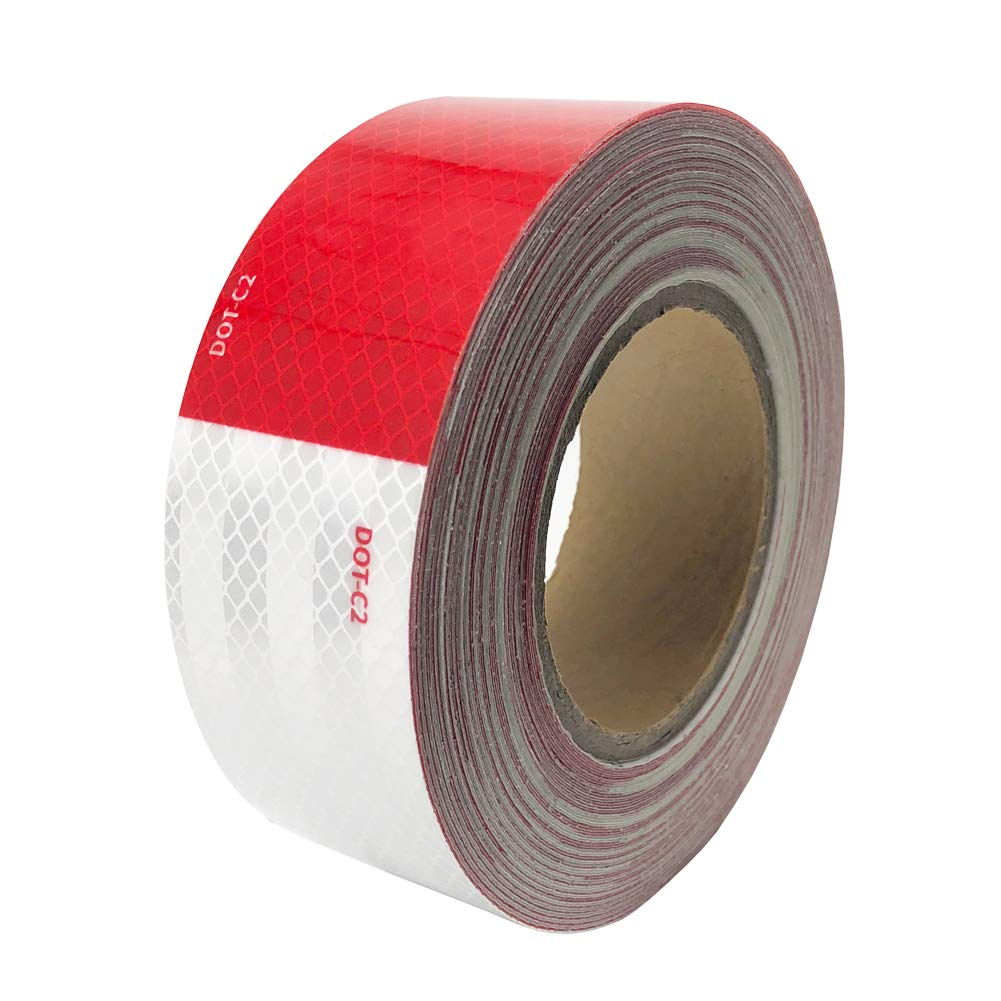 Dot-C2 Red/White Reflective Safety Tape,Conspicuity Tape,2 Inch x 75 Ft - for Vehicles,Trailers,Boats,Signs