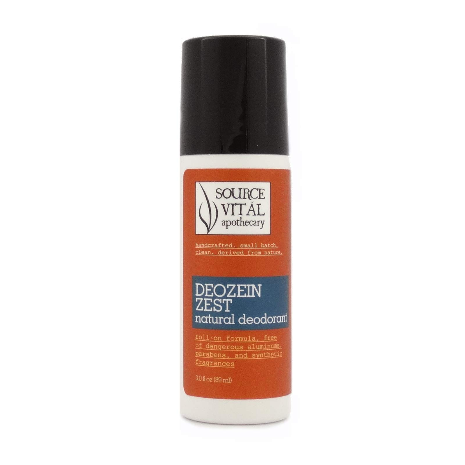 Source Vitál Apothecary | Deozein Zest Natural Roll-On Deodorant | Free of Parabens and Baking Soda, Non-Toxic, Odor-Controlling for Men and Women | 3 fl. oz.