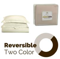 Clara Clark Reversible Two Color Duvet Cover Set, Queen Size, Off-White / Cream Beige Colors - Highest Quality 1800 Brushed Microfiber, Better than Cotton Super Soft, Silky Cozy, Plush and Breathable, Wrinkle, Stain and Fade Resistant Hypoallergenic Fabric - Set Includes Luxury Button Closure Duvet Cover and Pillow Shams with a Stylish Flange