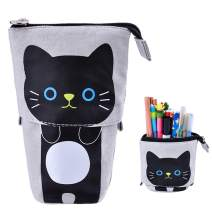 Rolin Roly Standing Pencil Case Cute Pencil Bags with Zipper Telescopic Pencil Pouch Canvas Pencil Holder Stationery Bag Transformer Pen Case