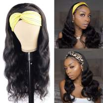 Mossyne Body Wave Headband Wig Human Hair Wigs None Lace Front Wig Glueless Headband Wigs for Black Women Brazilian Remy Hair 150% Density 16 inch