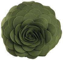 """SARO LIFESTYLE FT095 Rose Flower Design Throw Pillow, Filled, Kiwi, 13"""" Round"""