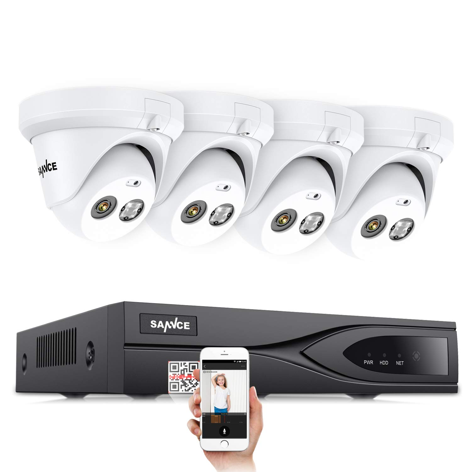 SANNCE HD 1080P PoE Security System and 4x1920TVL IP66 Weatherproof Surveillance IP Cameras, Voice Recording, 100ft Night Vision, Power Over Ethernet,Scan QR Code Quick Remote Access (No Hard Drive)