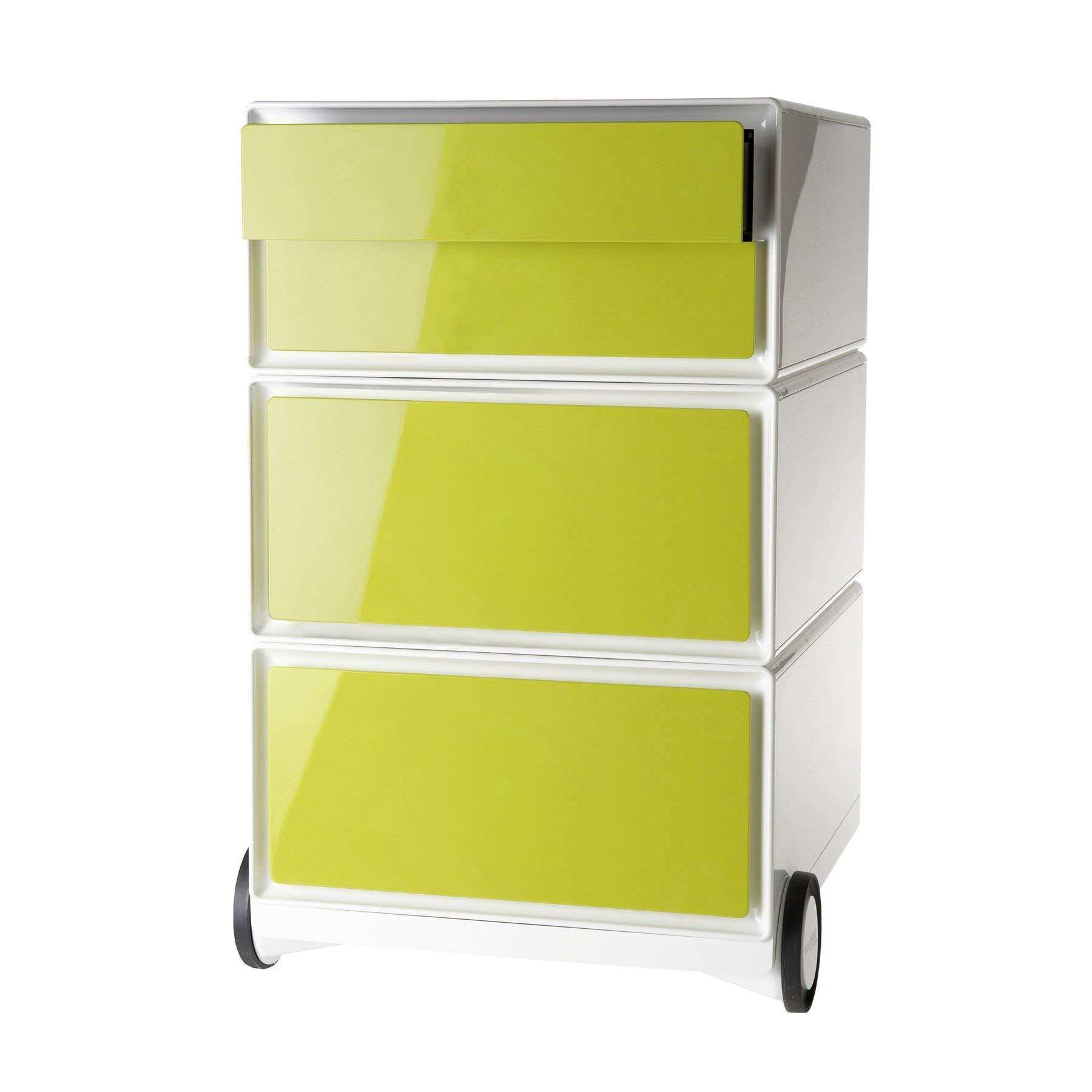 Paperflow EasyBox Four Drawer Mobile Pedestal, White/Green (EBGHPH.08)