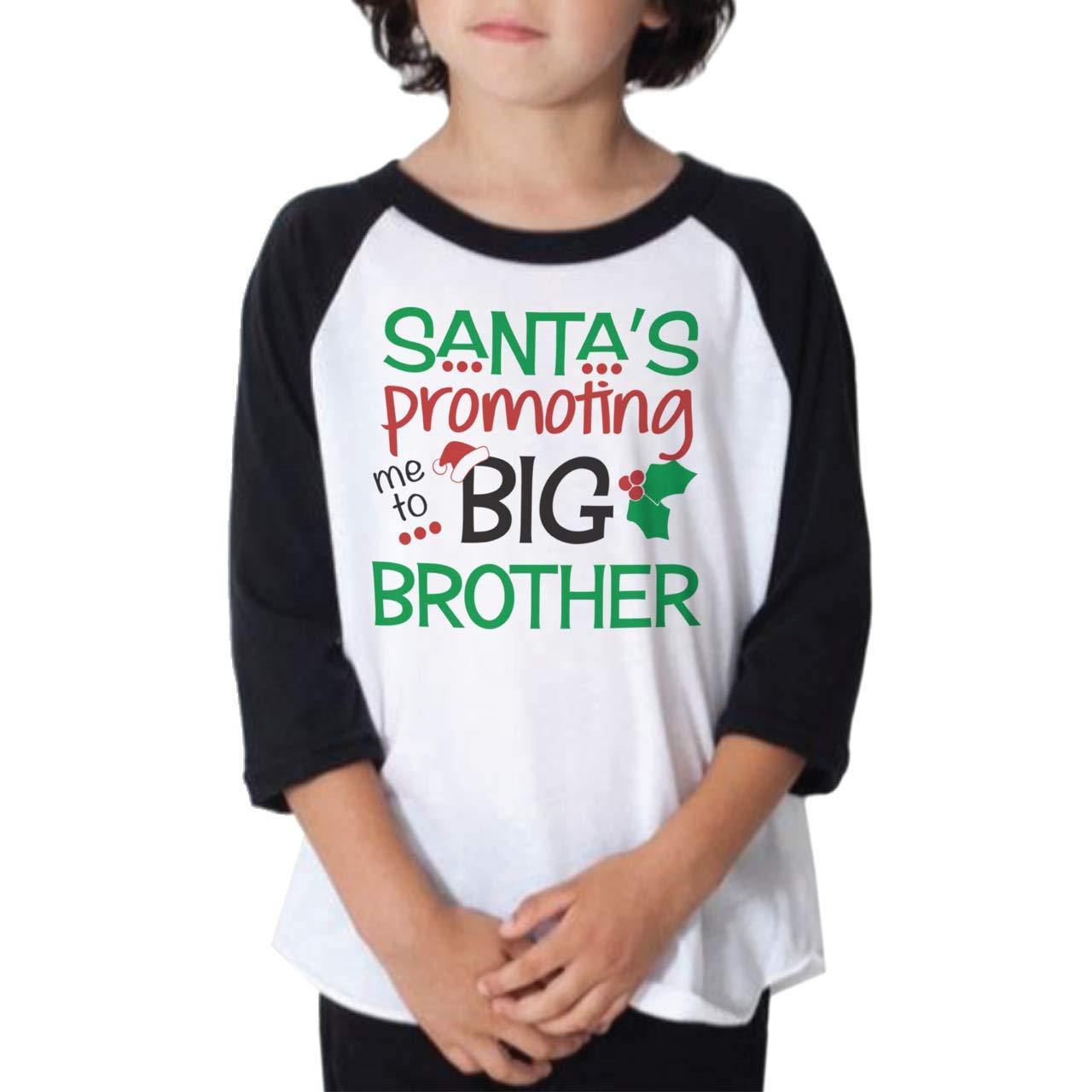 Bump and Beyond Designs Boys Promoted to Big Brother Christmas Shirt Toddler and Kids 3/4 Sleeve Holiday Raglan
