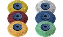 "Dedeco Sunburst - 2"" TC 3-PLY Radial Bristle Discs - 1/4"" Arbor - Industrial Thermoplastic Rotary Cleaning and Polishing Tool Set, Assorted: 1 of Each 6 Grit Textures (6 Piece)"