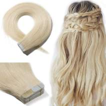 Tape In Real Human hair Extension Glue In Skin Weft Hair Extensions Rooted Tape in Remy Hair Seamless Invisible Double Sided Tape Human Hair Extensions For Women 14 inch 30g 20pcs #60 Platinum Blonde