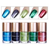 NICOLE DIARY 5 Bottles Metallic Nail Polish Mirror Effect Polish Colorful Shiny Metal Nail Polish Manicure Varnish (5 colors)