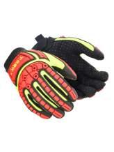 Magid Glove & Safety TRX641-L Magid T-REX TRX641 Slim-Fit Mechanic s Style Impact Glove Cut Level 4, Hi/Vis Yellow, Large