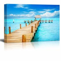 "Canvas Prints Wall Art - Beautiful Scenery/Landscape Vacation in Tropic Paradise Jetty on Isla Mujeres, Mexico | Modern Wall Decor/Home Decoration - 12"" x 18"""
