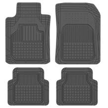 BDK Rubber Car Floor Mats - Classic Square Grid Channels - Trim to Fit Feature, 100% Odorless