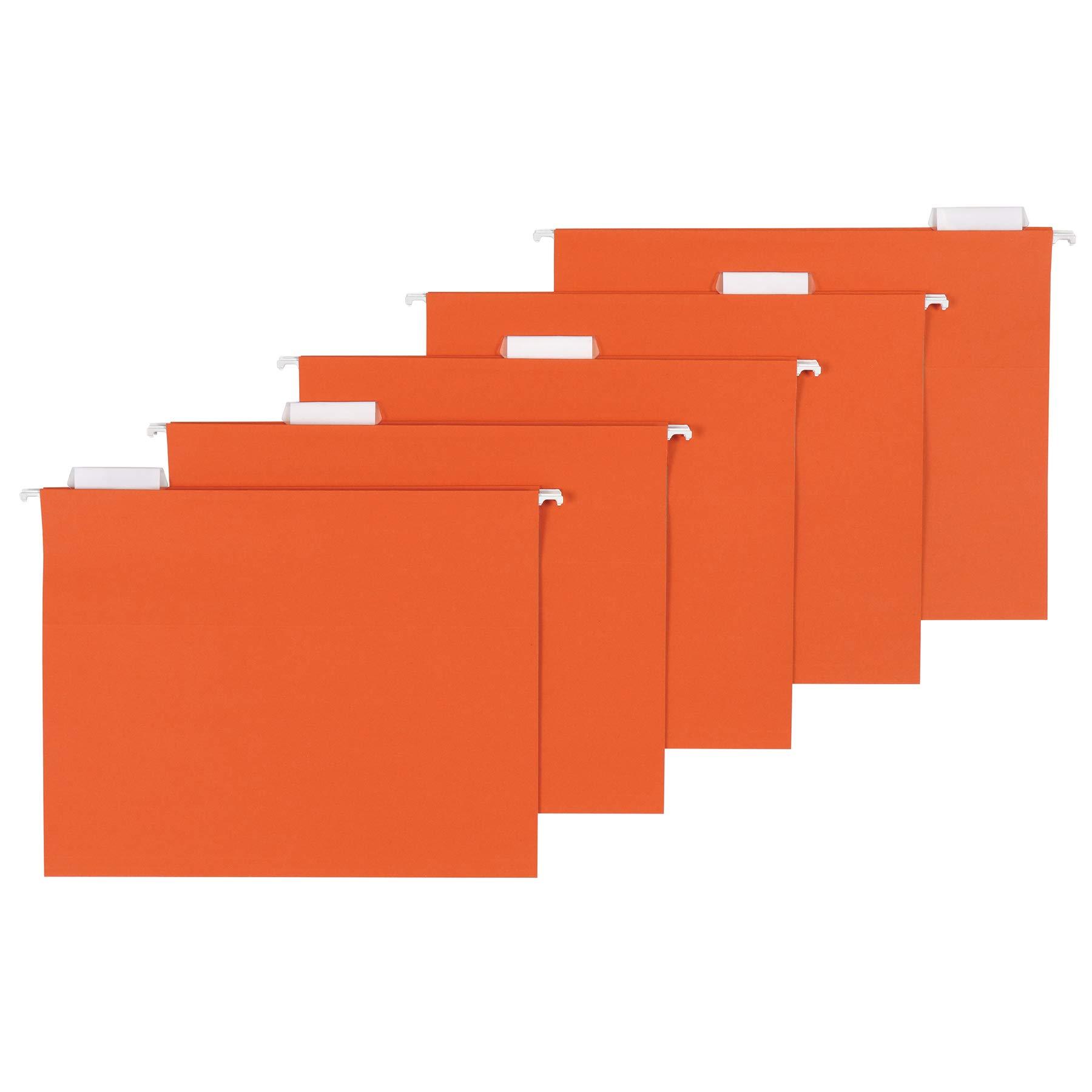 AmazonBasics Hanging Folders, Letter Size, Orange, 25 per Box