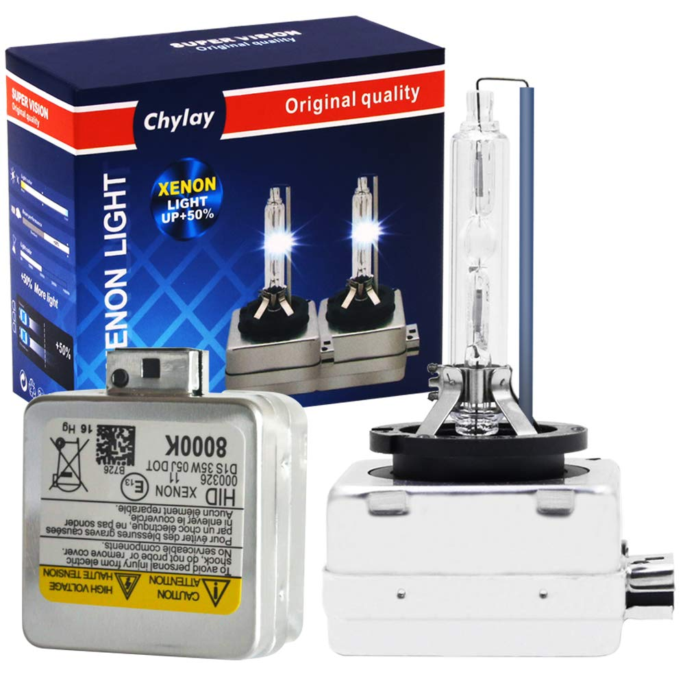 Chylay D1S Xenon HID Headlights Bulb 8000K HID Kit D1C HID Bulb Ice Blue Fog Lights 12V 35W HID Headlight Replacement with Metal Base -2 Years Warranty(Pack of 2)