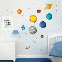 Runtoo Planets Wall Decals Outer Space Solar System Kids Wall Stickers Bedroom Boys Nursery Home Décor