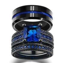 loversring His and Hers Wedding Ring Sets Couples Rings Women 10K Black Gold Filled Blue Cz Wedding Engagement Ring Bridal Sets Men's Stainless Steel Wedding Band