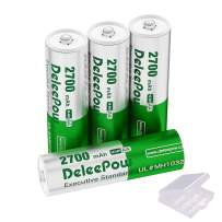 Deleepow AA Rechargeable Batteries, True High Capacity 2700mAh Ni-MH AA Battery, 1200 Cycle Long Lasting Double A Battery with Battery Storage Case - 4 Counts (Battery Only)
