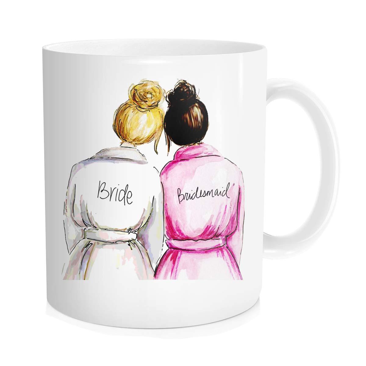 Wedding for Bridesmaid from Bride, Funny Coffee Mug Tea Cup, White Ceramic 11 oz