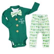 Newborn Baby Boys My 1st ST Patrick's Day Green Outfit Bodysuit Romper + Pants Clothes 3Pcs Sets
