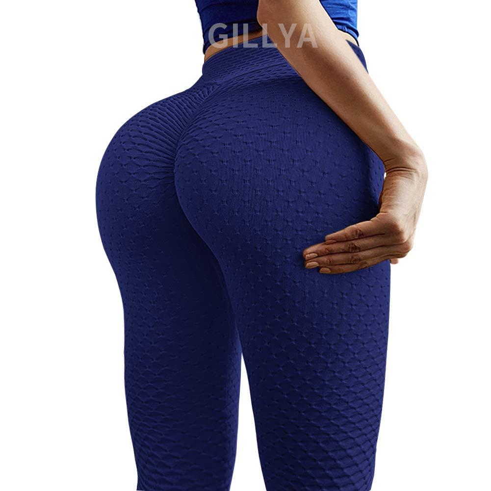 GILLYA Butt Lift Yoga Pants Ruched Butt Leggings Butt Lift Textured High Waisted Booty Lifting Anti-Cellulite Leggings