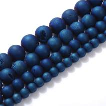 """Natural Stone Beads 8mm Blue Druzy Agate Gemstone Round Loose Beads Crystal Energy Stone Healing Power for Jewelry Making DIY,1 Strand 15"""""""
