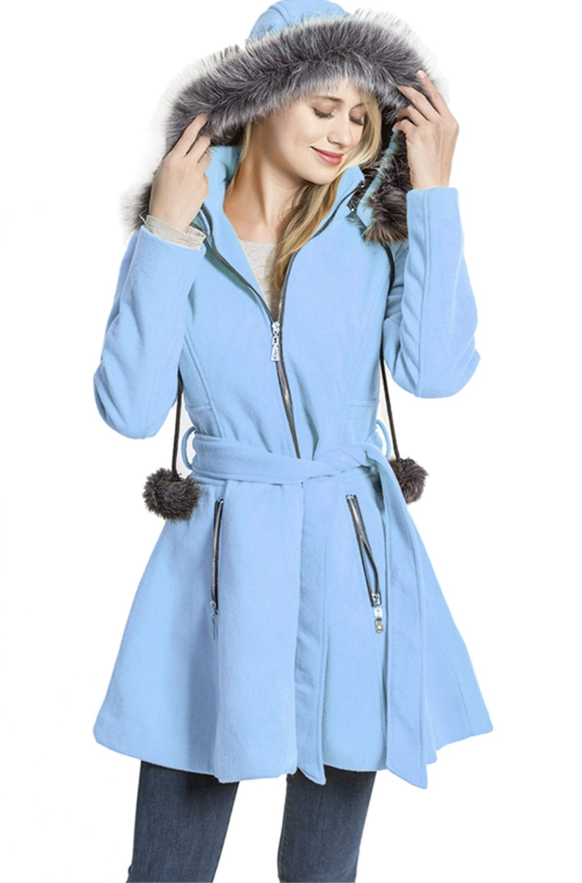 KENGURU COVE Women's Wool Trench Coat Lapel Wrap Swing Winter with Removable Fur Collar Long Overcoat Jacket