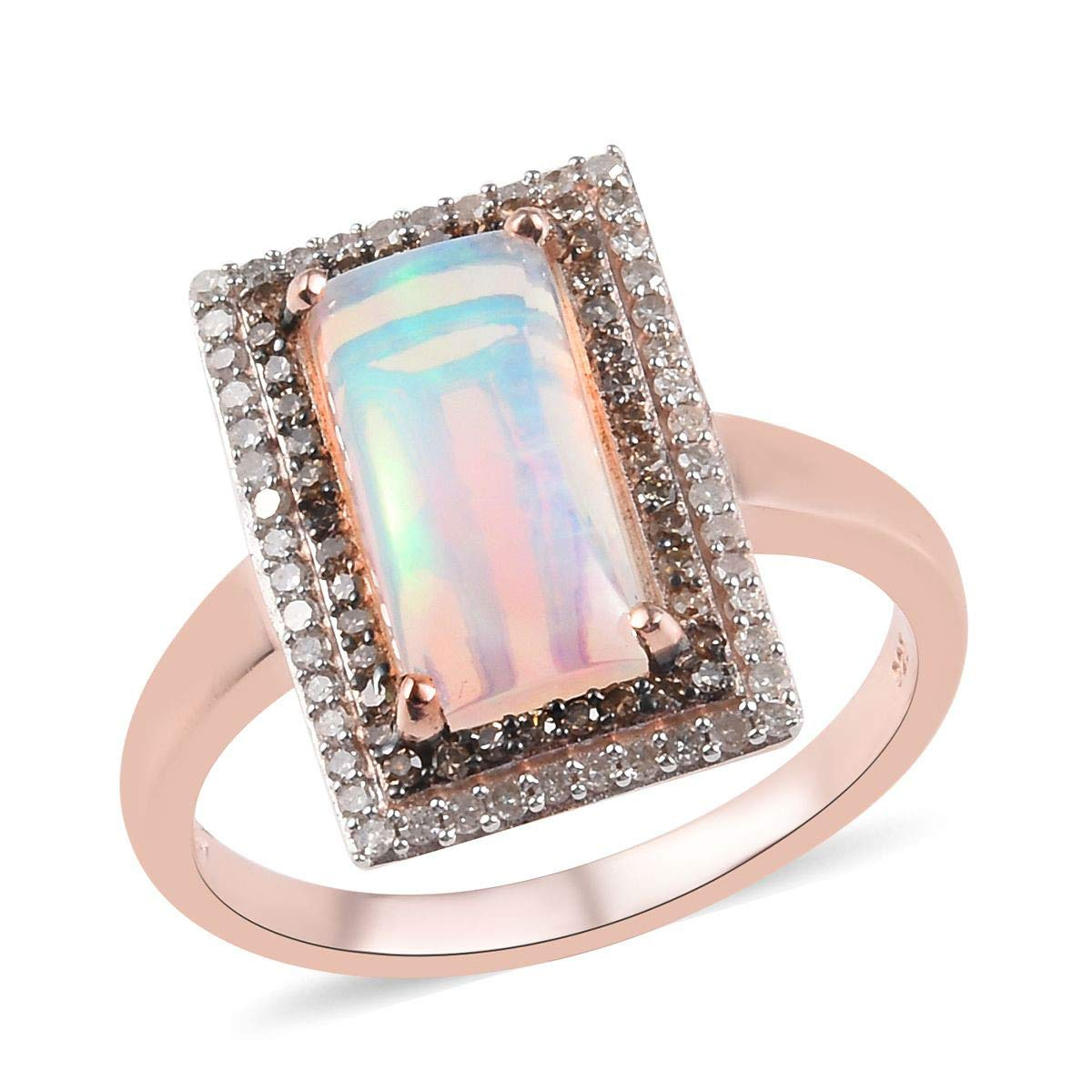 925 Sterling Silver Vermeil Rose Gold Plated Opal Diamond H-I Color I3 Clarity Halo Ring Jewelry for Women Ct 0.6