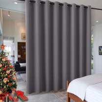 RYB HOME Gift Gray Room Divider Screen Partition, Energy Smart Modern Blackout Privacy Curtain Panel Heavyweight for Patio Door/Beach/Balcony Door, 8 ft Tall x 15 ft Wide, Grey, 1 Pc