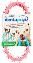 DentapupⓇ Dental Dog Toy Cleaning Teething Chew Ring with Teeth for Medium to Large Breed Dogs - Tartar & Plaque Remover, Gum Massager & Mouth Cleaner for Fresh Breath, Made in USA - Pink
