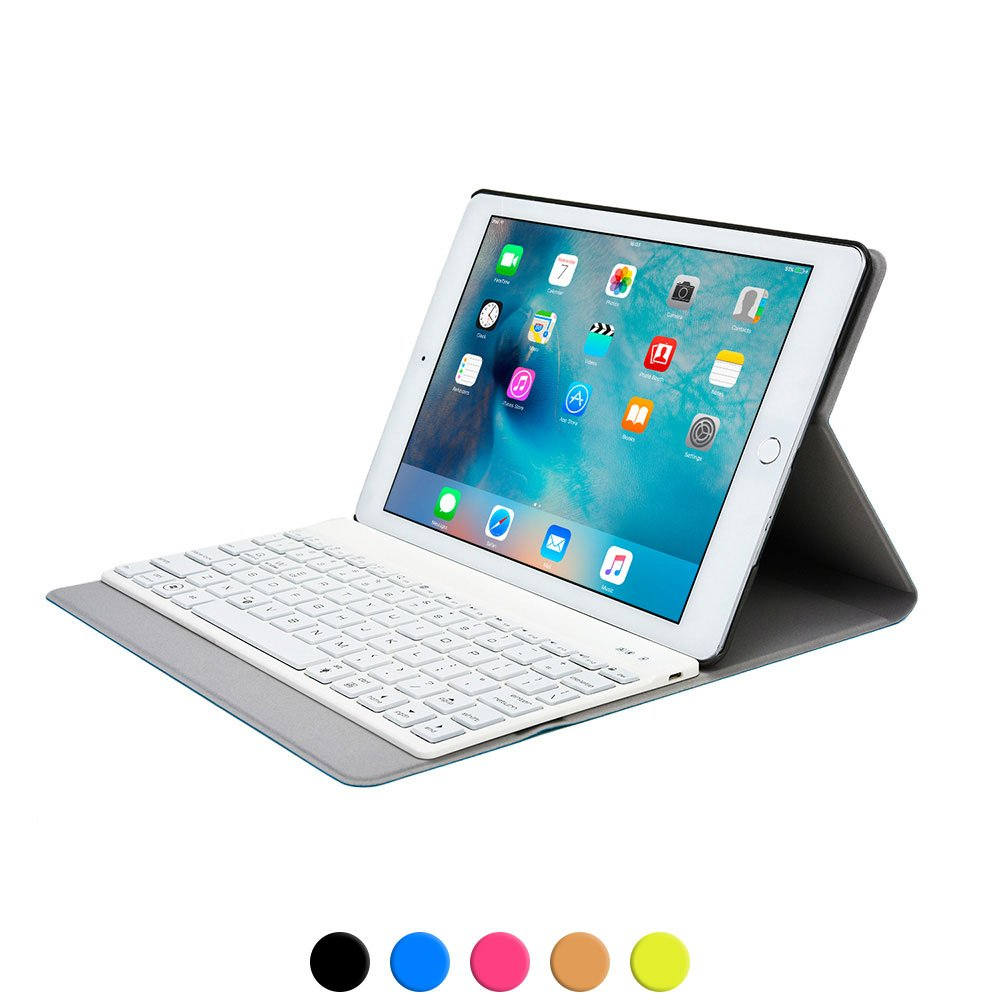 Cooper Aurora Folio Keyboard Case for iPad Air 2 | 7 Backlight Color, Bluetooth Wireless Rechargeable Detachable Backlit Keyboard (Blue)