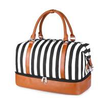 SUVOM Women Weekend Bag Canvas Overnight Travel Tote Bag Carry on Shoulder Duffel Bag With PU Leather Strap (White/Black Thick Vertical Stripes)