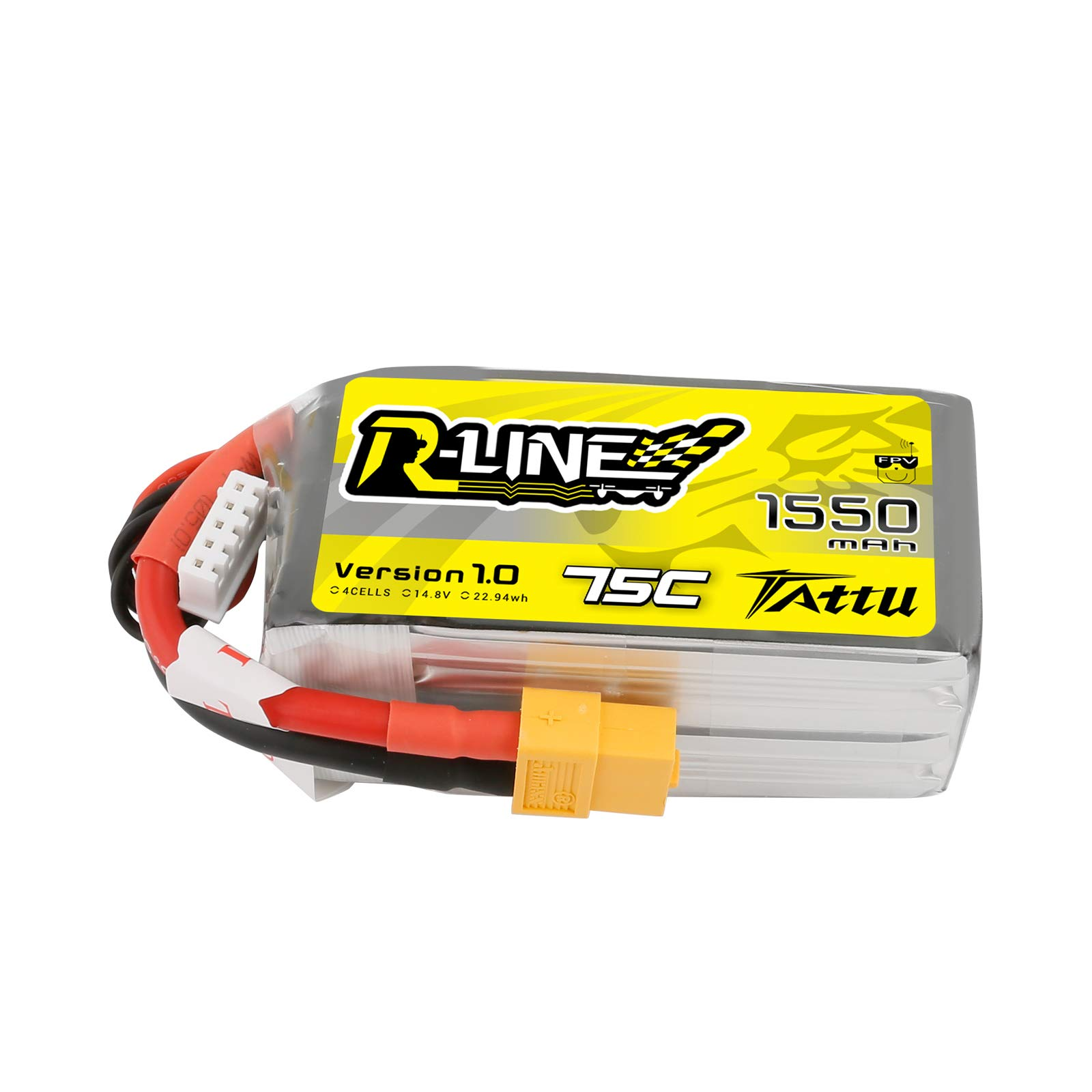 Tattu 14.8V 75C 4S 1550mAh R-Line LiPo Battery Pack with XT60 Plug for FPV Racing QAV 250
