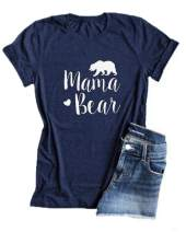 Mansy Womens Mama Bear Shirt Funny Letter Printed Short Sleeve Round Neck Loose Summer Cotton Tee T-Shirt Tops